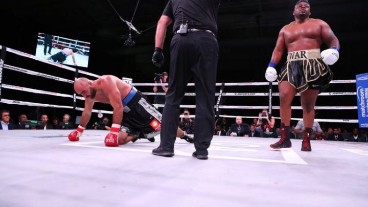 Jarrell Miller catches up to Bogdan Dinu, wins by 4th round KO
